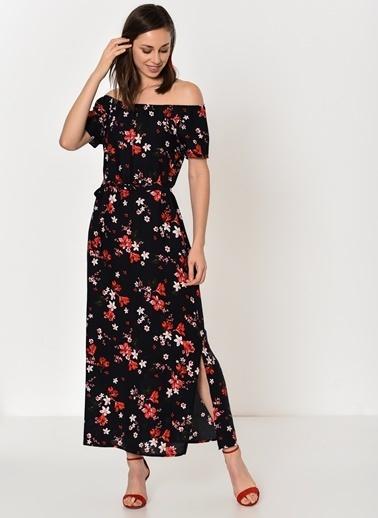 Kayık Yaka Çiçekli Uzun Elbise-Dewberry